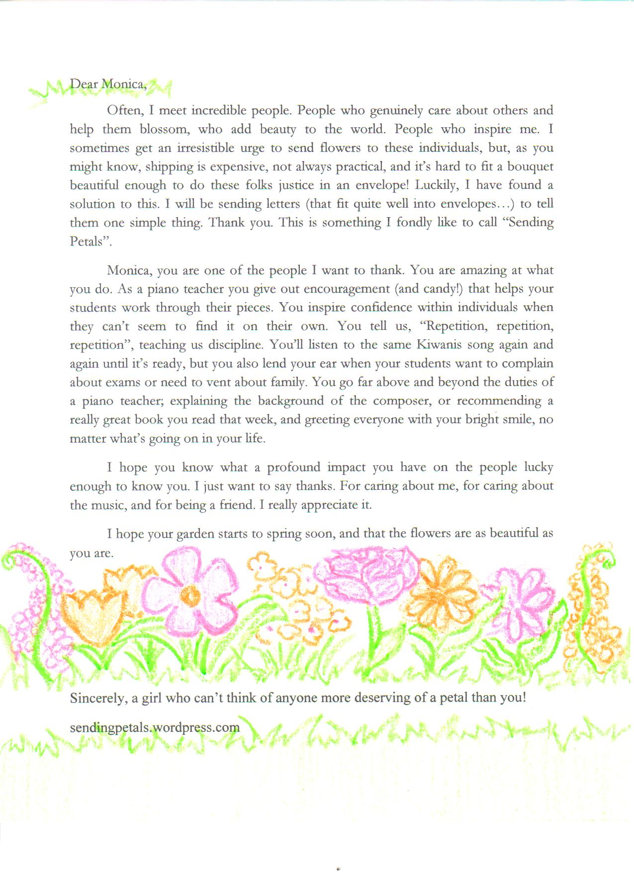 teacher sending petals letter 2 monica the piano teacher