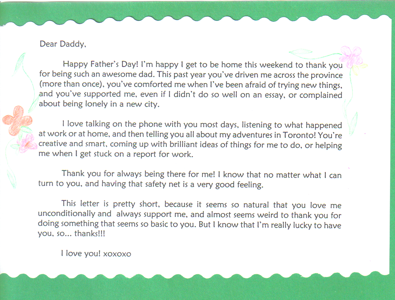 so wish your dad a happy fathers day and people write some letters and send them to us we know you think its a good idea